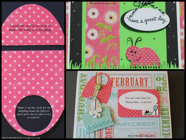 cards with ladybugs, cards with purses, using oval shapes